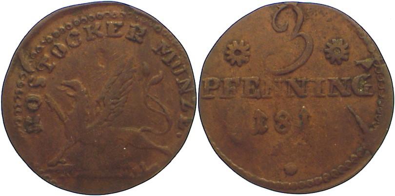 Cu 3 Pfennig 1815 AS Mecklenburg-Rostock, Stadt Prägeschwäche, sehr schön