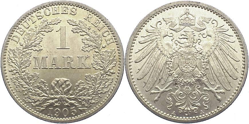 1 Mark 1905 A Kleinmünzen vorzüglich-Stempelglanz