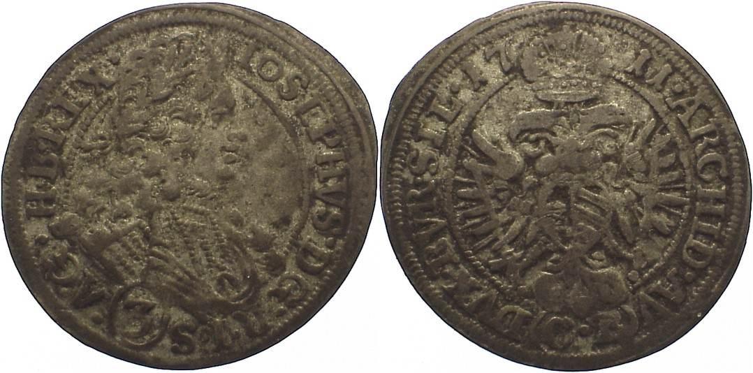 3 Kreuzer 1711 CB Schlesien-Der oberste Lehnsherr Joseph I. 1705-1711. sehr schön