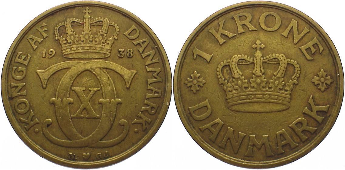 1 Krone 1938 N Dänemark Christian X. 1912-1947. sehr schön