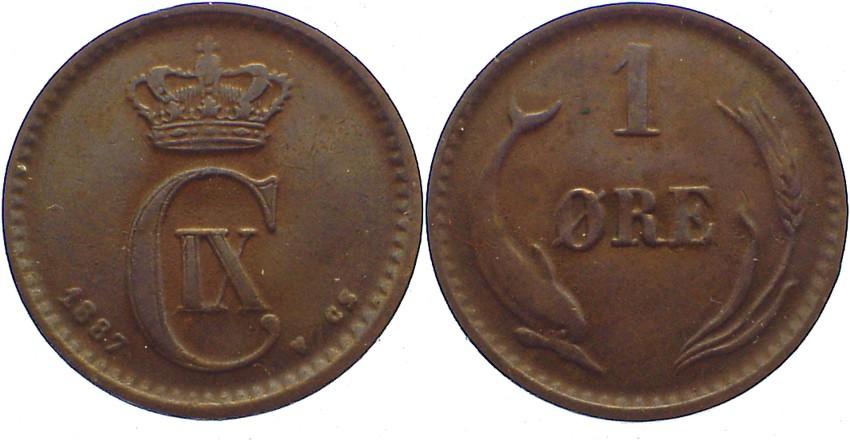 Cu 1 Öre 1 1887 CS Dänemark Christian IX. 1863-1906. fast sehr schön