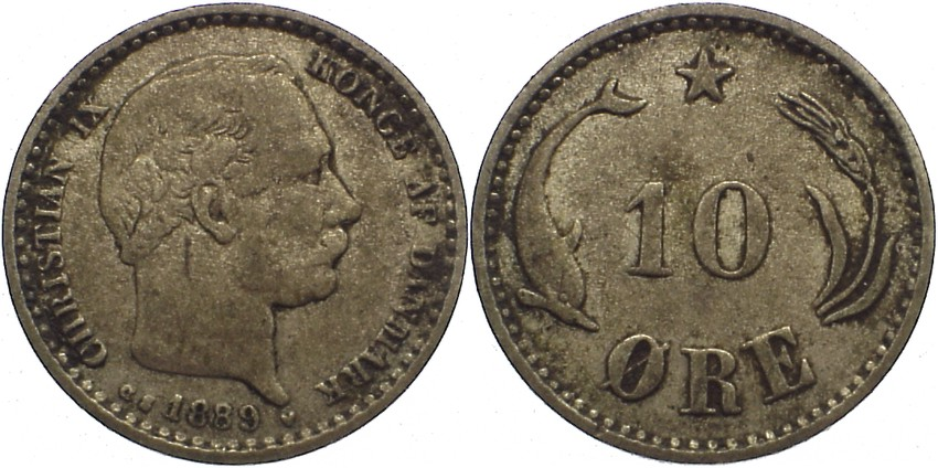 10 Öre 1 1889 CS Dänemark Christian IX. 1863-1906. fast sehr schön