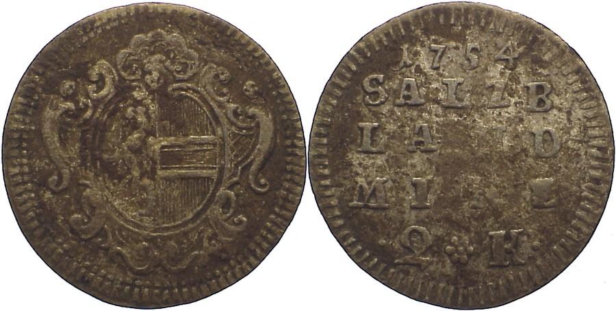 1/2 Landbatzen 1754 Salzburg, Erzbistum Sigismund III. von Schrattenbach 1753-1771. Belagreste, fast sehr schön