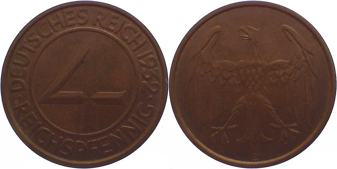 4 Reichspfennig 1932 E Weimarer Republik Kursmünzen 1918-1933. fast vorzüglich