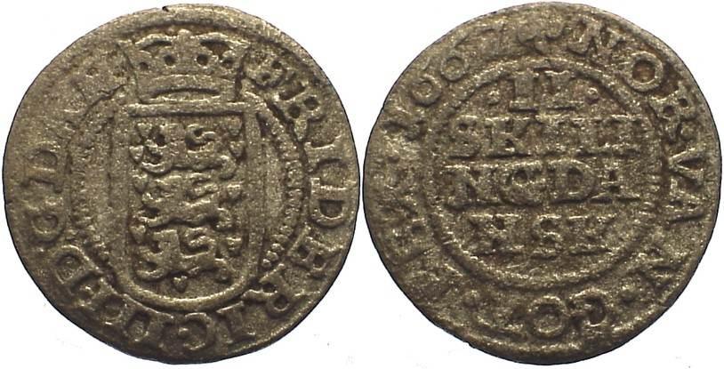 2 Skilling 1667 Dänemark Frederik III. 1648-1670. schön-sehr schön