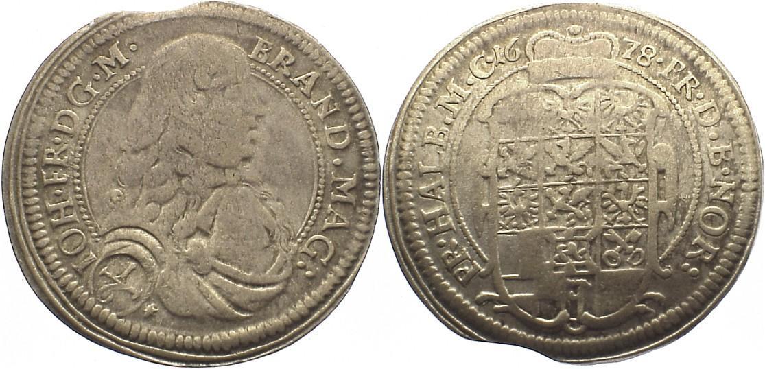 1/6 Taler 1678 Brandenburg-Ansbach Johann Friedrich 1667-1686. Zainende, sehr schön -