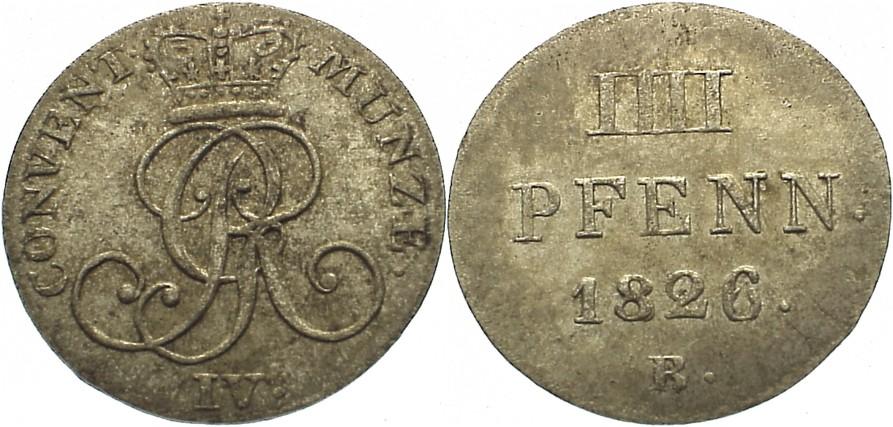 4 Pfennig 1826 B Braunschweig-Calenberg-Hannover, ab 1692 Kftm. Han Georg IV. 1820-1830. vorzüglich