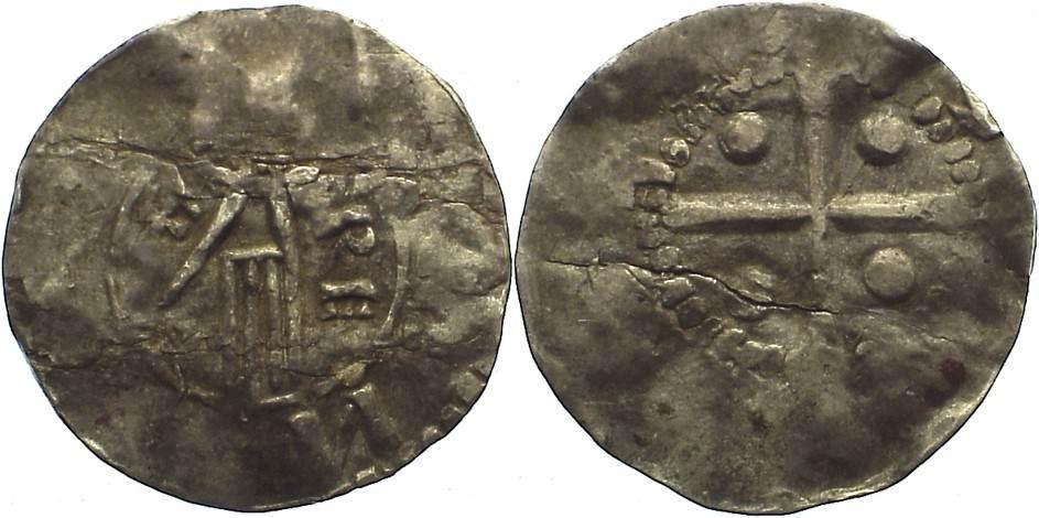 Pfennig 1002-1024 Niederlande-Deventer, königliche Münzstätte Heinrich II. 1002-1024. Schrötlingsriß, schön-sehr schön