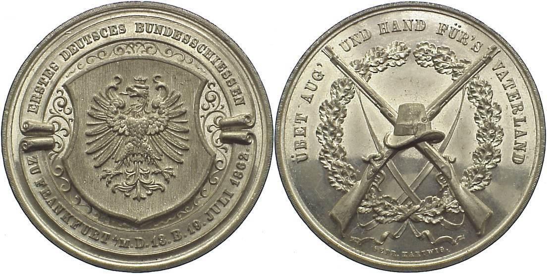 Zinnmedaille 1862 Frankfurt, Stadt kl. Kratzer, vorzüglich