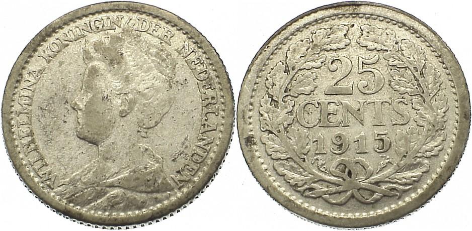 25 Cents 1915 Niederlande-Königreich Wilhelmina I. 1890-1948. sehr schön