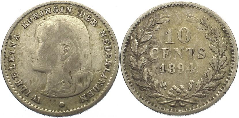 10 Cent 1894 Niederlande-Königreich Wilhelmina I. 1890-1948. fast sehr schön