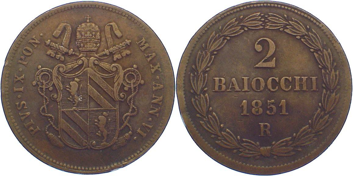 Cu 2 Baiocchi 1851 AN Italien-Kirchenstaat Pius IX. 1846-1878. kl. Randfehler, sehr schön