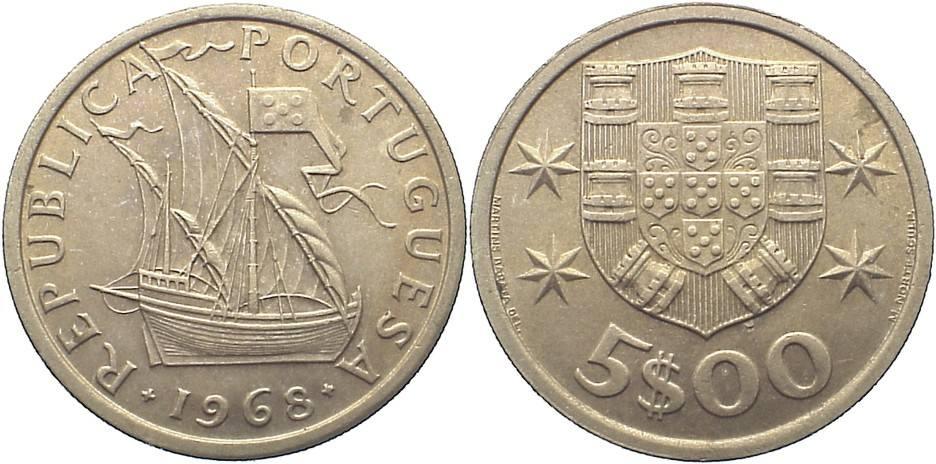 5 Escudos 1968 Portugal Republik seit 1910. kl. Kratzer, vorzüglich - prägefrisch