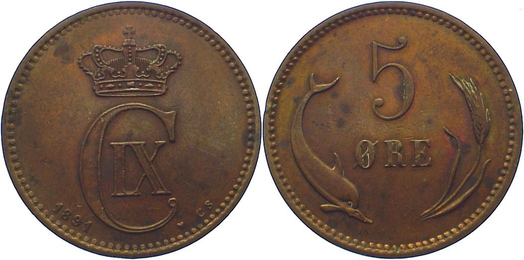 Cu 5 Öre 1 1891 CS Dänemark Christian IX. 1863-1906. sehr schön +