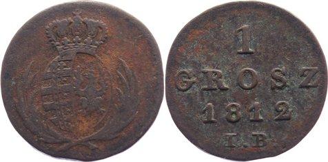 Cu 1 Grosz 1812 IB Polen Fürstentum Warschau 1810-1815. fast sehr schön / sehr schön