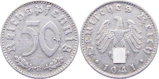 50 Reichspfennig 1941 B Drittes Reich Kursmünzen 1933-1945. Kratzer, sehr schön
