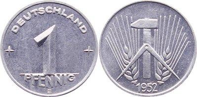 1 Pfennig 1952 E DDR min. Kratzer, vorzüglich-Stempelglanz