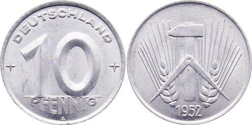 10 Pfennig 1952 A DDR vorzüglich - Stempelglanz