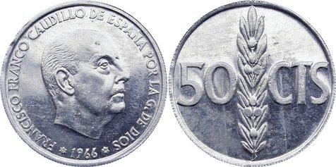 50 Centimos 1966 Spanien Francisco Franco 1939-1947-1975. selten, kl. Randfehler, vorzüglich - Stempelglanz