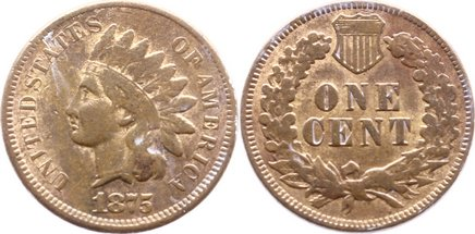 Cu 1 Cent 1875 USA fast sehr schön