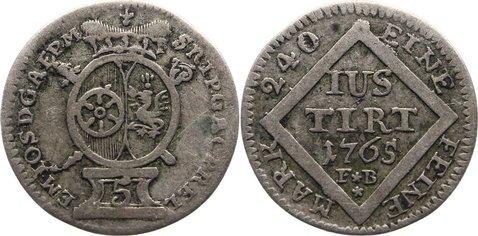 5 Kreuzer 1765 FB Mainz, Erzbistum Emmerich Joseph von Breitbach-Bürresheim 1763-1774. sehr schön