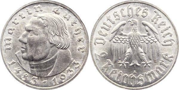 2 Reichsmark 1933 A Drittes Reich Gedenkmünzen 1933-1945. kl. Kratzer, vorzüglich