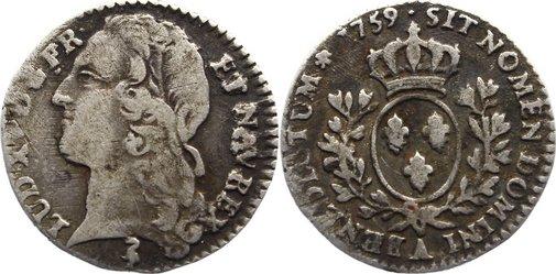 1/10 d'écu au bandeau 1 1759 A Frankreich Ludwig XV. 1715-1774. selten, fast sehr schön