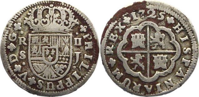 2 Reales 1725 J Spanien Philipp V. 1700-1746. Belagreste, schön +
