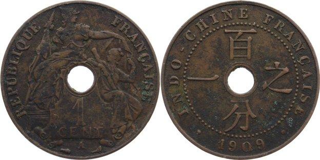 Cu Cent 1909 A Französisch Indochina Belagreste, sehr schön