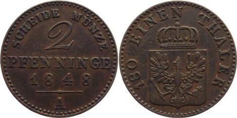 Cu 2 Pfennig 1848 A Brandenburg-Preußen Friedrich Wilhelm IV. 1840-1861. sehr schön