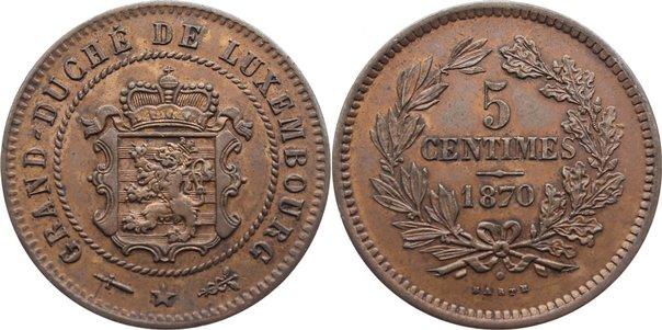 Cu 5 Centimes 1870 Luxemburg Willem III. der Niederlande 1849-1890. sehr schön - vorzüglich