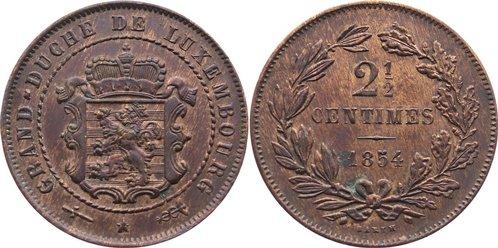 Cu 2 1/2 Centimes 1870 Luxemburg Willem III. der Niederlande 1849-1890. fast vorzüglich