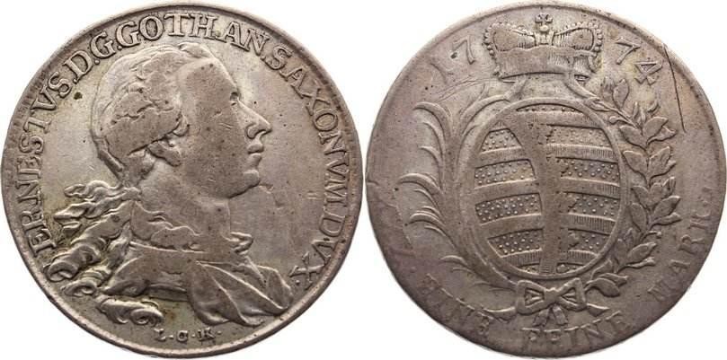 1/3 Konventionstaler 1774 Sachsen-Gotha-Altenburg Ernst II. Ludwig 1772-1804. selten, Kratzer, fast sehr schön