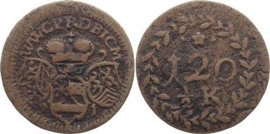 Kipper Kupfer 1/2 Kreuzer 1621 Pfalz-Neuburg Wolfgang Wilhelm 1614-1653. selten, fast sehr schön