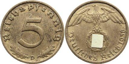 5 Reichspfennig 1936 D Drittes Reich Kursmünzen 1933-1945. sehr schön