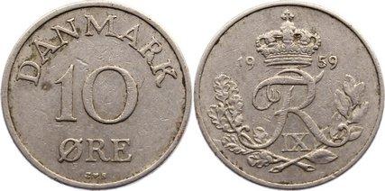 10 Öre 1 1959 CS Dänemark Frederik IX. 1947-1972. sehr schön