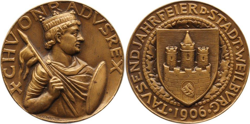 Bronzemedaille 1906 Nassau-Weilburg Carl August 1719-1753. vorzüglich