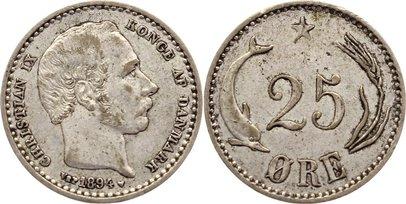 25 Öre 1 1894 Dänemark Christian IX. 1863-1906. sehr schön