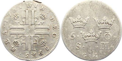 5 Öre 1 1731 GZ Schweden Friedrich I. 1720-1751. Schrötlingsfehler am Rand, fast sehr schön