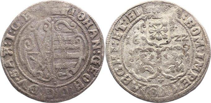 8 Groschen 1615-1656 Sachsen-Albertinische Linie Johann Georg I. 1615-1656. sehr selten, fast sehr schön