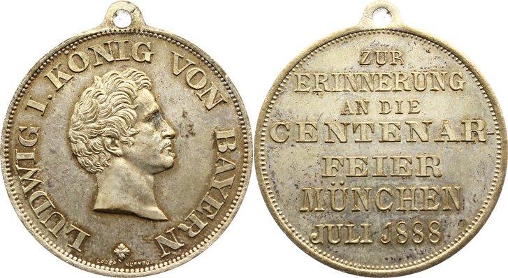 Versilberte Bronzemedaille 1888 Bayern-München, Stadt Fleck, vorzüglich