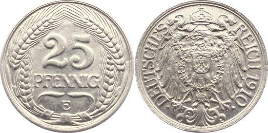 25 Pfennig 1910 E Kleinmünzen fast vorzüglich