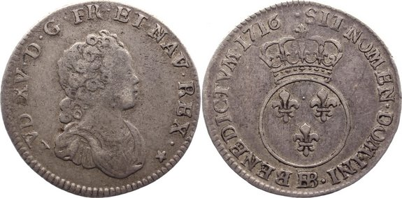1/10 Écu Vertugadin 1 1716 BB Frankreich Ludwig XV. 1715-1774. sehr schön