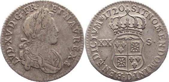 1/6 Écu - XX-S de France-Navarre 1 1720 D Frankreich Ludwig XV. 1715-1774. sehr schön