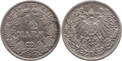 1/2 Mark 1908 G Kleinmünzen sehr schön