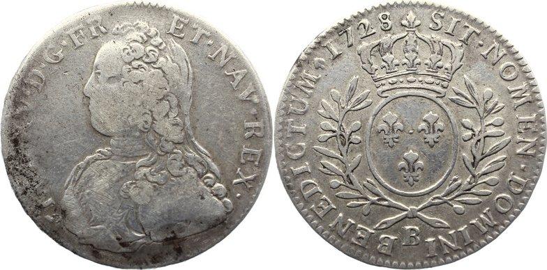 1/2 Écu aux branches d´olivier 17 1728 B Frankreich Ludwig XV. 1715-1774. schön / sehr schön