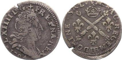 5 Sols aux insignes 1704 BB Frankreich Ludwig XIV. 1643-1715. Randfehler, fast sehr schön