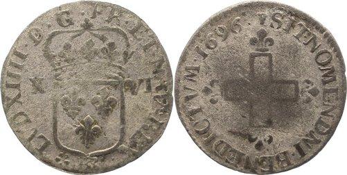 16 Deniers de Strasbourg 1696 BB Frankreich Ludwig XIV. 1643-1715. schön +