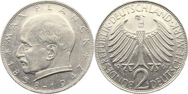 2 Mark 1967 G Kursmünzen sehr schön +
