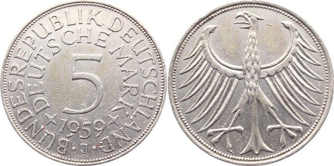 5 Mark 1959 J Kursmünzen kl. Randfehler, sehr schön